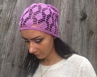 women summer cotton  hat Crocheted Summer Hat,purple hat, Hand Crocheted Hat Womens Hat slouchy hat sun hat, woman hat