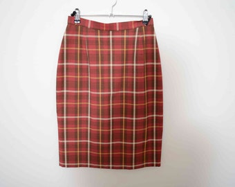 Marks and Spencer Red Checked Pencil Skirt Small UK 10