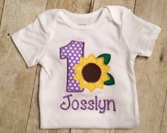 Personalized Sunflower first birthday outfit, 1st birthday sunflower outfit - Toddler girl,  Baby Girl, 1st Birthday  girl, purple