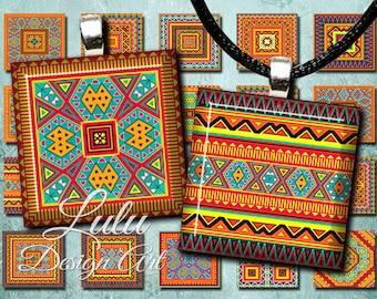 "Tribal digital download "" Aztec Squares "" 1 inch square images / aztec clipart / tribal clipart / 1 inch tiles / digital collage sheet"