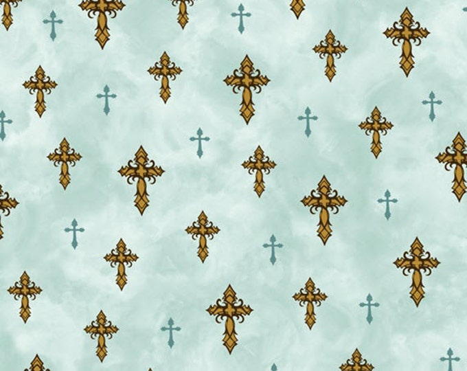 "25"" REMNANT Amazing Grace - Crosses in Light Teal - Cotton Quilt Fabric - by Kensington Studio for Quilting Treasures - 24030-Q (W3210)"