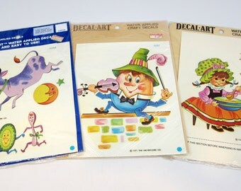 Vintage Decal-Art Decals Nursery Rhymes 1981 Set of 3 Packages