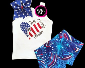 """Tank Only!! Ready to Ship - YS (5/7)- Glitter """"Faith Family Freedom"""" Patriotic Fouth of July Tank"""
