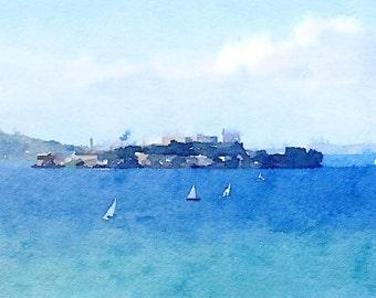 Alcatraz Watercolor Print