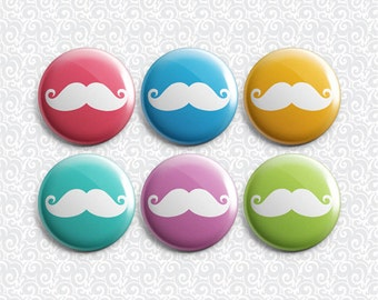 Moustache Brights 6 Pack - Pinback Badge / Magnets / Sticky