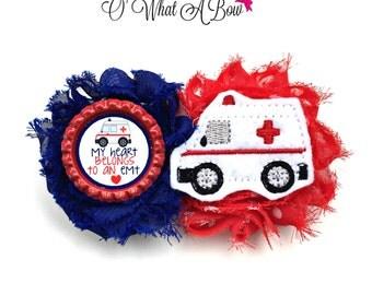 EMT, EMT gifts, EMT baby, Emt Mom, Baby Emt, Ambulance, Ambulance Hair Bow, Ambulance Hair Clip, First Responder Gift, Ems Baby, Ems
