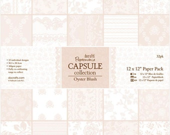 """Docrafts Papermania Paper Pack Oyster Blush 12""""X12"""" 32/Pkg -  PM160220"""