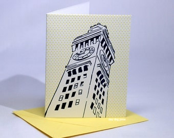 Baltimore  Letterpress Card | Bromo Seltzer Tower | navy & yellow cards | set of 4 cards with envelopes