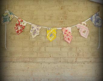 Vintage Floral Handkerchief Banner