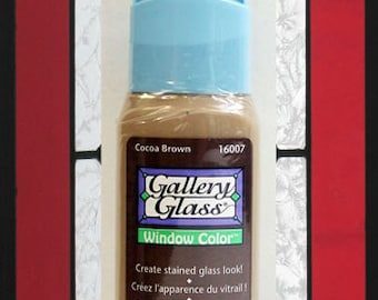 Plaid Gallery Glass Paint 16007 - 2 oz. Cocoa Brown ~ Create Stained Glass Look