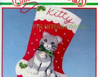 """Bucilla My Kitty's Stocking ~ 10"""" Felt Christmas Kit #82612, Kitten, Cat Mouse DIY"""