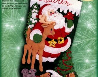 "Bucilla Among The Animals ~ 18"" Felt Christmas Stocking Kit #84061 Santa, Deer DIY"