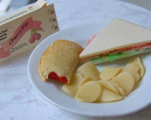 Food For American Girl Dolls- Lunch Box With Sandwich, Chips and Fruit Pie