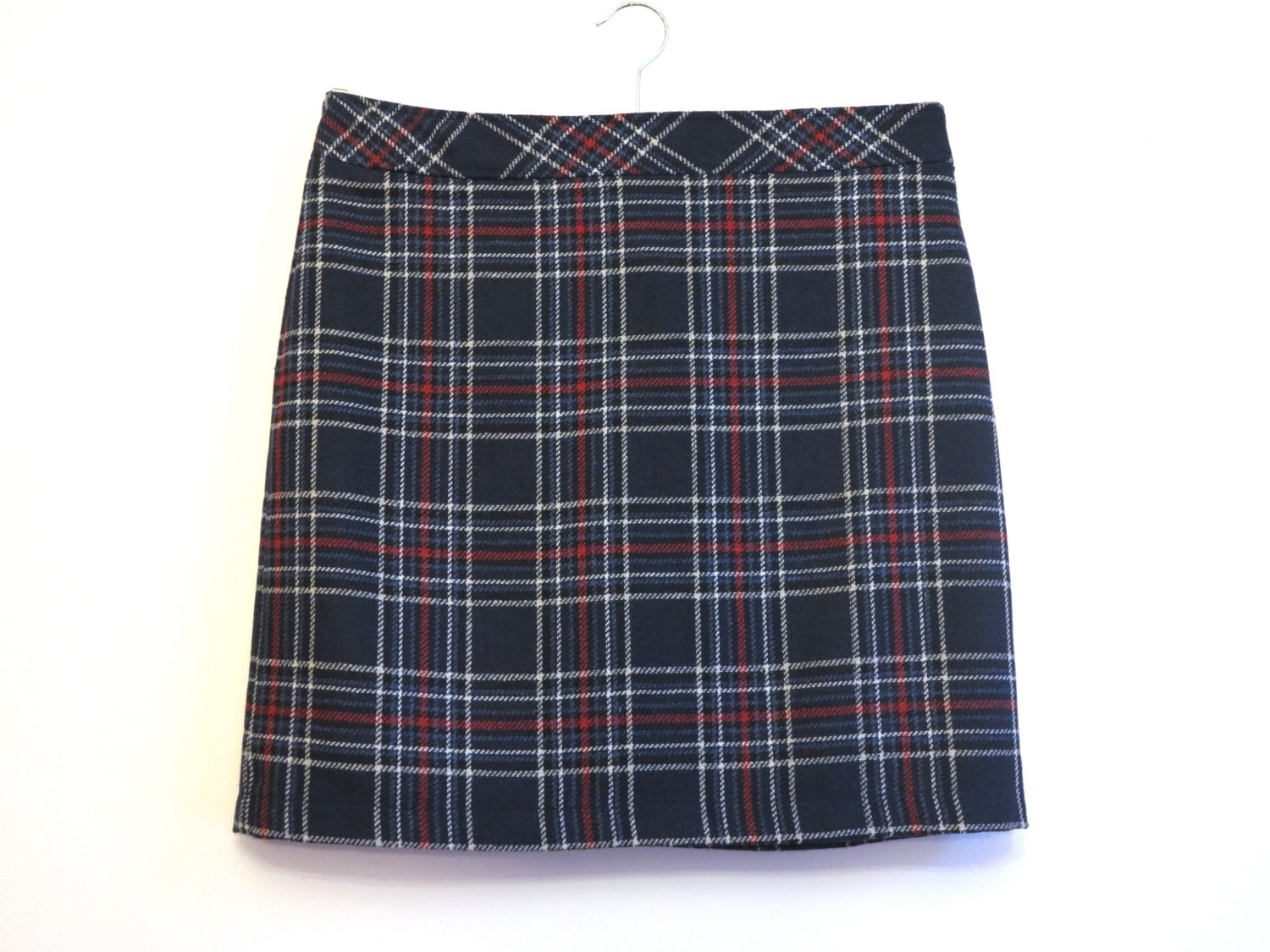 blue plaid mini skirt checkered pencil skirt back to