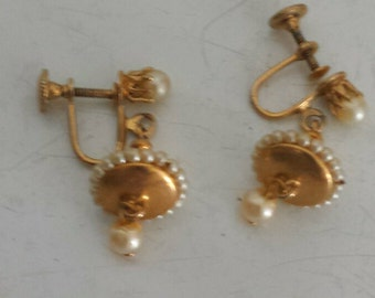 Vintage 50s brass and pearl UFO earrings