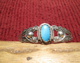Native American Turquoise and Sterling Cuff Bracelet