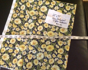 1+ yards of navy cotton with cheery sunflower motif