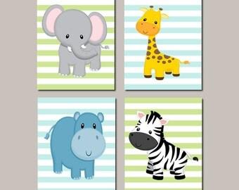JUNGLE Nursery Wall Art ELEPHANT Giraffe Zebra Hippo Zoo Safari Animals Baby Boy Nursery Decor Jungle Bedding Set of 4 Prints Or Canvas