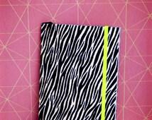 Notebook fabric zebra with neon yellow elastic