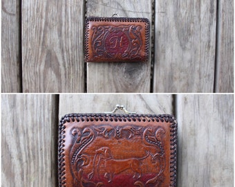 Vintage 1950s Western Hand Tooled Leather Wallet With the Letter H and a Dachshund