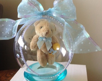 Pregnancy Announcement, Gender Reveal Ornament with Floating Teddy Bear-It's A Boy #1