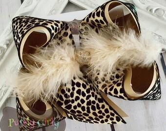 Cheetah Leopard Hairbow Exlarge Bow Animal Print Large