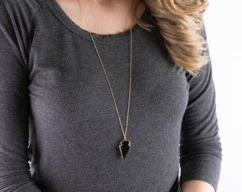 Boho Arrow Head Necklace | Gold arrow necklace, Tribal necklace, Arrow pendant necklace, Long necklace, Arrowhead necklace, Layering jewelry