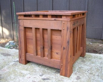 Mission Style Redwood Planter, Craftsman Style, Arts and Craft Style, Outdoor Privacy Screen Shrub Planter  Memorial Tree Planter Box,