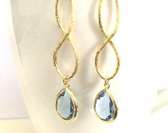 Light Blue Sapphire Earring, Blue  Teardrop Infinity Gold Earring, Teardrop,