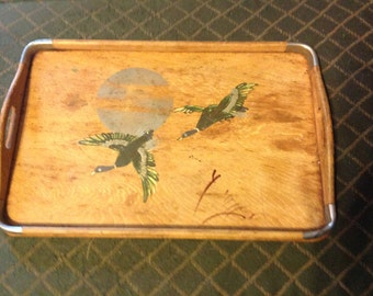Vintage antique wood serving tray Japan hand painted ducks wooden handles