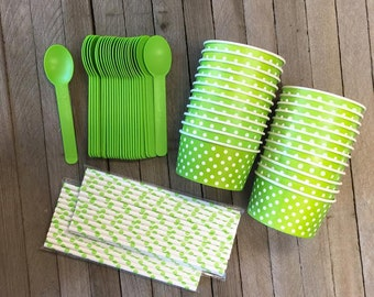 Lime and White Polka Dot Ice Cream Sundae Kit with Paper Straws and Lime Spoons- Dessert Cups- Birthday Party Supply- 24 Cups and 50 Straws