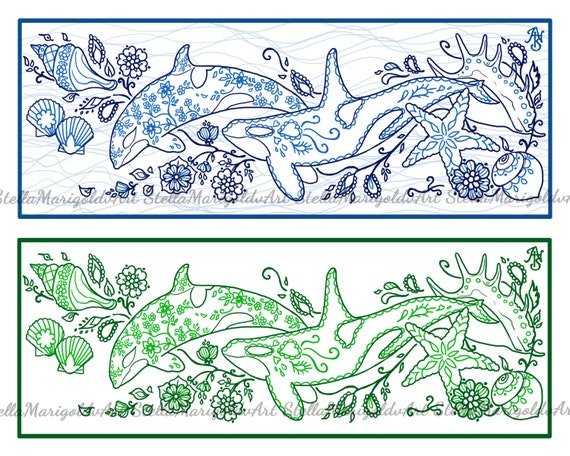 Arabesque Orcas Coloring Page Bookmark