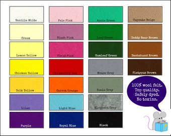100% Wool Felt Pure - CHOICE OF 12 COLOURS - 20cmx30cm