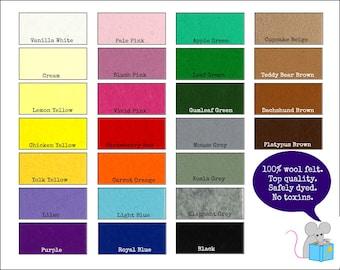 100% Wool Felt Pure - Miniature felt craft sheets for sewing -  20cm x 15cm (4'' x 5 7/8'')