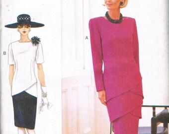 Size 14-18 Misses' Dress Pattern - Drop Waist Dress With Petal Skirt - Tiered Skirt Sewing Pattern - Vogue Woman Sewing Pattern 9482