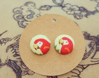 Polly Parrot fabric covered button earrings