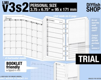 Trial [PERSONAL v3s2 w/o DAILY] November to December 2017 - Inserts Refills Printable Binder Planner Midori.