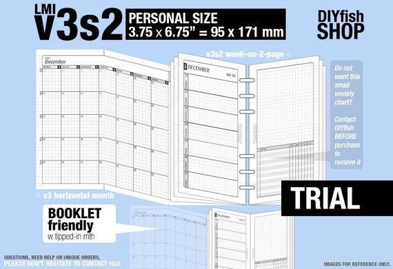 Trial [PERSONAL v3s2 w/o DAILY] March to May 2017 - Inserts Refills Printable Binder Planner Midori.