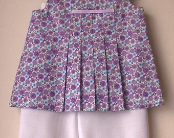 Girls Lavender Flower Summer Cropped Trousers & Short Sleeve Top Size 4 years