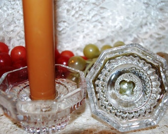 KIG Indonesia 2 Pc Set Clear Crystal Octagon W Ribbed Base Tealight/Taper Holder