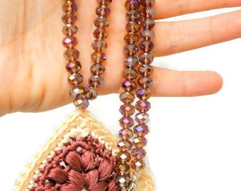 Boho Necklace, Crocheted Necklace, Crystal Beaded Necklace, Statement Jewelry, Pink Necklace, One Of A Kind, Gift For Her, Unique Jewelry