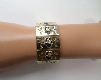 Gold Mesh Bracelet Box Panel Bracelet Black Rose Flower Panel Hidden Clasp Early Century Vintage Mesh Bracelet Jewelry