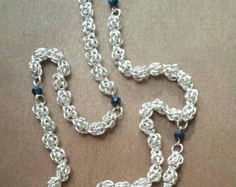 """Chainmaile rosary beads. Silver plated sweetpea """"beads"""" and cross"""