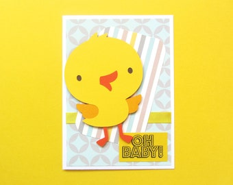 Duck Baby Shower Card / Oh Baby Congratulations Card / Baby Girl Card / Baby Boy Card / Gender Neutral Baby Card / Mom to Be Card