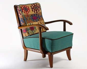 Restored kilim chair from 1950's