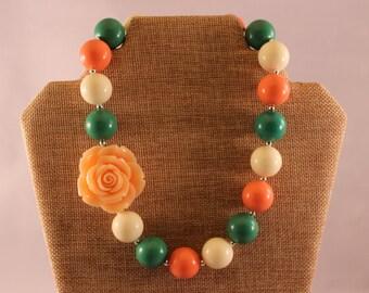 Peach Acrylic Rose Bubblegum Bead Chunky Boutique Necklaces