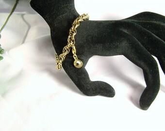 Vintage 70's 12kt Gold Filled Fancy Rope Chain Signed Charm Bracelet