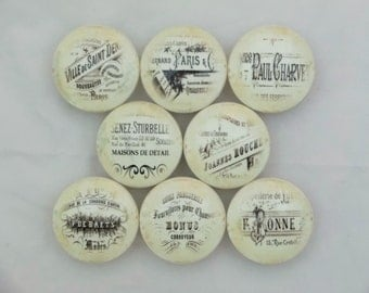 Set of 8 Antique Ivory French Ephemera Label Cabinet Knobs