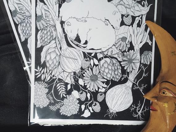 Rats and vegetation art print
