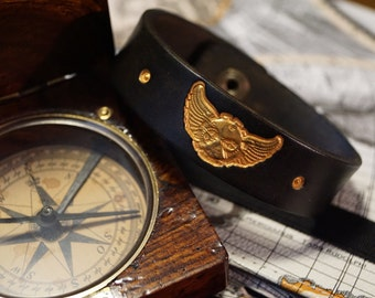 Leather Bracelet - Black and Gold Winged Time